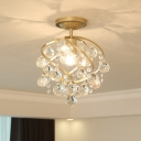 Swirl Crystal Semi-Flush Mount Modern Metal 1 Light Semi Flush Light Fixtures for Corridor