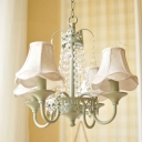 4/6/8 Lights Scalloped Chandelier Lamp with Crystal Traditional Fabric Foyer Pendant Light in Green