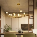 Brass Branch Island Lighting Modern Metal 10 Lights Multi Light Pendant with Bubble Shade