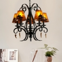 Mica Cone Chandelier Lighting Traditional 5 Lights Hanging Pendant Light in Black
