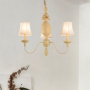 3/5/8 Lights Chandelier with White Empire Shade Rustic Style Fabric Hanging Light in Beige