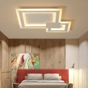 Ultra Thin Square Flush Lamp Minimalist Metal Led Indoor Close to Ceiling Light in White, 16