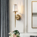 Luxurious Coolie Shade Wall Light 1 Light Metal and Clear Crystal Sconce Lamp in Gold for Living Room