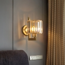Clear Crystal Drum Wall Light Bedside Bedroom 1 Light Modern Stylish Wall Lamp in Black/Gold