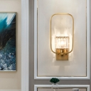 Gold Drum Wall Light with Rectangle Frame 1 Light Modern Metal Wall Sconce Light with Crystal Decor for Hotel