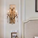 Luxurious Aged Brass Wall Light Candle 2 Bulbs Metal Sconce Light with Teardrop Crystal for Bedroom