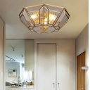 4 Bulbs Geometric Ceiling Flushmount Light Vintage Flush Ceiling Lamp in Brass Finish for Bedroom