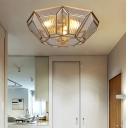 4 Bulbs Geometric Ceiling Flushmount Light Vintage Flush Ceiling Lamp in Brass Finish for Bedroom