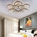 Ring Petal LED Ceiling Mount Light Living Room Modern Neutral/Warm/White Ceiling Lamp in Black