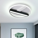 Ring Flush Mount Lighting with Black Linear Shade Metal Led Close to Ceiling Light in Warm/White, 18