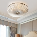 Clear Crystal Empire Flush Lighting Country Style 4 Bulbs Living Room Flush Mount Ceiling Light in Brass