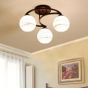 Sphere Semi Flush Lamp Handblown White Glass 3/6 Lights Modern Indoor Lighting in Black