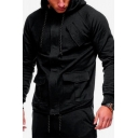 Men's Hot Fashion Simple Plain Long Sleeve Pockets Detail Fitted Drawstring Hoodie Jacket
