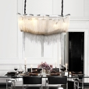 Linear Chandelier with Metal Chain Shade Contemporary 8 Lights Gold/Silver Island Light