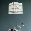 Prismatic Glass Square Hanging Ceiling Light 8 Bulbs Contemporary Chandelier Lamp