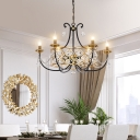 Traditional Candle Chandelier Light 9 Lights Metal Black and Gold Hanging Ceiling Light with K9 Crystal Accents