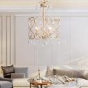 4 Lights Round Chandelier Lamp Vintage Metal Frame Hanging Ceiling Light in Gold with Crystal Prisms