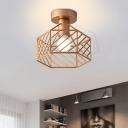 Hexagon/Flower Metal Shade Flush Mount Lamp Contemporary 1 Head Indoor Light Fixture Ceiling in Brass