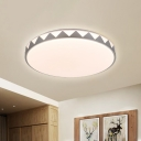 Contemporary Round Led Flush Mount Lamp with Zigzag Pattern Acrylic Flush Ceiling Light in White, White/Neutral/Warm Light