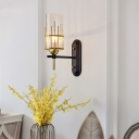 Colonial Cylinder Sconce Light with Clear Glass Shade 1 Head Bedroom Wall Light Fixture in Black
