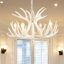 4/6/9 Bulbs Antlers Pendant Light Fixture Contemporary Resin White Chandelier with Adjustable Chain