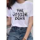 Fancy Letter THE UPSIDE DOWN Colorful Light Pattern White T-Shirt for Ladies