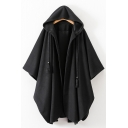 Open Front Drawstring Hood Black Plain Cloak Woolen Overcoat