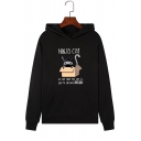 Unisex Fashion Letter NINJA CAT Print Long Sleeve Pullover Loose Graphic Hoodie