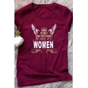 Hot Sale Letter NEVER UNDERESTIMATE THE POWER OF A WOMAN Crown Wing Pattern T-Shirt