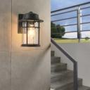 Luminaire mural extérieur rectangulaire / rond avec support en fer Applique murale de style rétro Mystic Black