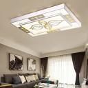 White Rectangle Flush Lighting Modern Style Clear Crystal Led Living Room Ceiling Light