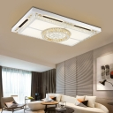 Contemporary Rectangular Flush Lighting Faceted Crystal and Metal Integrated led Flushmount Lighting in White