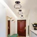 Black/Chrome Wire Flush Mount Ceiling Light 1 Head Mini Ceiling Flush Light with Clear K9 Crystal Shade