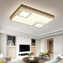 Square/Rectangle Flushmount Modern Simple White Integrated Led Flush Ceiling Light with Clear Crystal Accents, 24.5