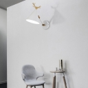 Simple Cone Wall Light Fixture 1 Head Wall Lighting Idea with Metal Antler Decoration in Grey/White/Green for Bedside
