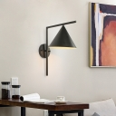 Conical Metal Wall Lighting Contemporary 1 Light Black/White/Gold Sconce Light Fixture over Table, 8