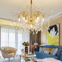 Gold Down Lighting Chandelier Mid-Century Modern 4/7 Lights Metal Chandelier Light with Crystal Decoration