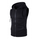 Mens Fashion Plain Sleeveless Zip Up Fitted Hoodie Vest