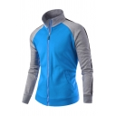 Colorblocked Striped Panel Long Sleeve Stand Collar Zip Up Sportive Sweatshirt