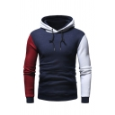 Mens Casual Contrast Long Sleeve Drawstring Pullover Hoodie