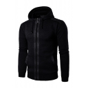 Men's Fashionable Long Sleeve Contrast Trim Zip Up Drawstring Thicken Hoodie with Pocket