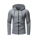 Pop Men's Whole Colored Pleated Long Sleeve Slim Fit Zipper Drawstring Hoodie