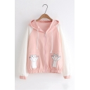 Color Block Long Sleeve Cat Pattern Pocket Zip Up Causal Jacket