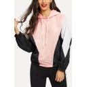 Casual Colorblocked Elastic Cuffs Long Sleeve Loose Drawstring Hoodie for Women