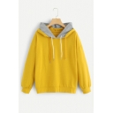 New Trendy Contrast Panel Hood Yellow Long Sleeve Drawstring Hoodie