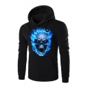 Blue Flame Skull Print Long Sleeve Slim Fit Pullover Hoodie with Pocket