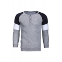 Simple Colorblocked Long Sleeve Half Button Fly Pull Over Sweatshirt