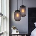 Capsule Suspension Light Vintage Smoke/White Ribbed Glass Single Pendant Light for Kitchen Island