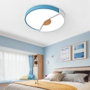 Unique Round Ceiling Light Fixture Modern Acrylic and Iron 1 Head Flushmount Light in Blue/Green/Pink for Bedroom