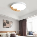 Round Wooden Flush Mount Light Fixtures Nordic Style Iron Acrylic Ceiling Lights in White/Grey/Green, White/Stepless Adjusted